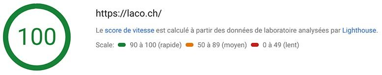 laco.ch score Googlespeed sur desktop