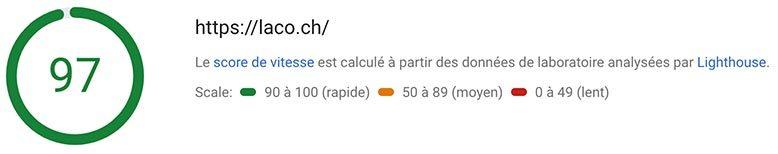 laco.ch score Googlespeed sur mobile